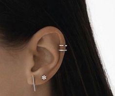 SOLID Rose Gold Bar Stud earrings, rose gold bar studs, gold bar post earrings, minimalist jewelry, solid rose gold bar studs – Fine Jewelry Ideas - New Piercing Models 2020 Fake Piercing, Ear Piercing Helix, Double Piercing, Cute Ear Piercings, Tragus Piercings, Unique Piercings, Double Cartilage, Cartilage Earrings, Ear Peircings