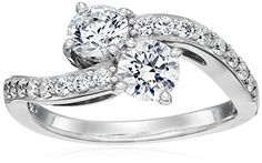 PlatinumPlated Sterling Silver Swarovski Zirconia 2Stone Curve Bypass Ring Size 7 * Click image to review more details.Note:It is affiliate link to Amazon. #likecomment