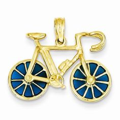 Yellow Gold Blue Translucent Acrylic Bicycle Pendant - in Yellow Gold - FREE gift-ready jewelry box - Width of Item: 23 mm - Length of Item: 18 mm - Feature: Solid - - This Item Does Not Ship With a Chain Golden Bike, Specialized Bikes, Buy Bike, Bike Accessories, Primary Colors, Yellow, Blue, 3 D, Miniatures