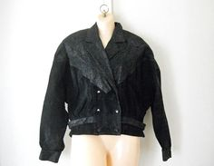 Unique vintage Christmas gift idea for her 1980s cropped black leather jacket