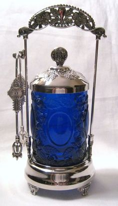 ~ Cobalt Blue Glass & Silver Plated Pickle Castor (In A Daisy Button Pattern) ~ Bottles And Jars, Glass Bottles, Perfume Bottles, Cobalt Glass, Cobalt Blue, Indigo Blue, Im Blue, Blue And White, Antique Glass