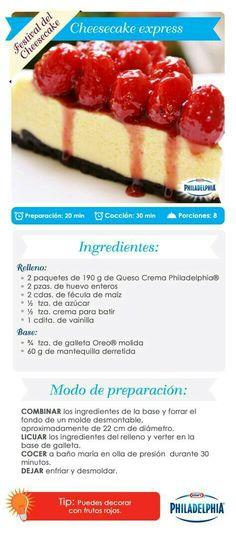 Cheesecake e xpress. No Bake Desserts, Delicious Desserts, Dessert Recipes, Yummy Food, Un Cake, Mini Cheesecakes, Sweet Cakes, Cakes And More, Cheesecake Recipes