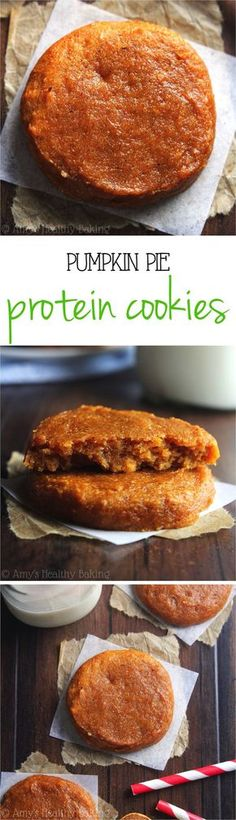 Pumpkin Pie Protein Cookies -- these skinny, protein-packed cookies don't taste healthy at all! Just 78 calories & acceptable for breakfast! Sub whey for vegan protein powder Protein Desserts, Protein Cookies, Healthy Cookies, Healthy Sweets, Healthy Baking, Healthy Snacks, Protein Bars, High Protein, Protein Power