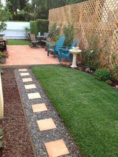 Rasen, Mulch, Kies und Terrakotta Fliesen