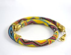 Bead Crochet Necklace Mexico Yellow  Blue  Red  Black by LeeMarina, $81.40