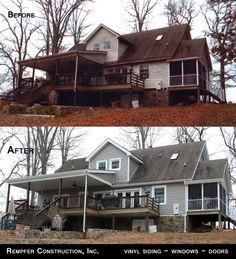 Rempfer Construction, Inc. Siding - Windows - Doors Before & After Construction, Cabin, Windows, Doors, House Styles, Home Decor, Building, Decoration Home, Room Decor