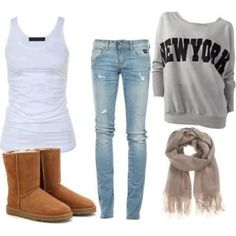 The grey scarf with the newyork shirt with the rippled jeans with the super cute bearclaw boots.