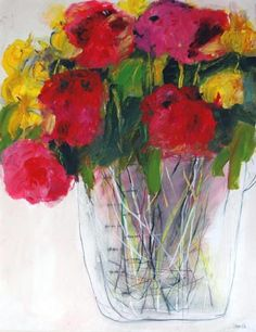 """Flowers In Measuring Jug  by Christine Bowen  2005  39"""" x 28""""  acrylic & graphite on paper"""