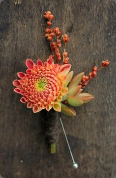 Dahlia, sorghum and succulent boutonniere - purple dahlia and perhaps without the sorghum