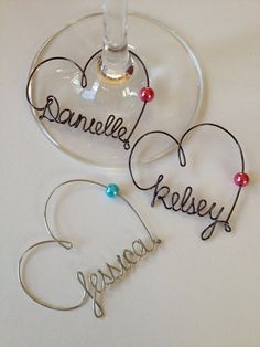 Personalized Wine glass Charms. Perfect for wedding party gifts, wedding favors and special event gifts