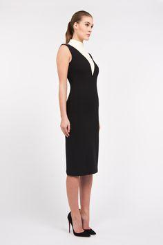 Monika Csutak Black and Ivory Two-tone Wool-crepe dress