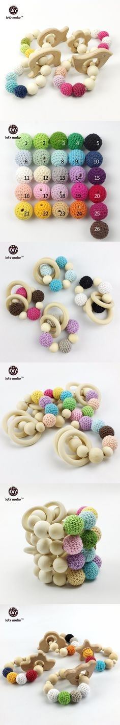 Bead Teething Organic Wood Toy Bird Elephant Fish Flower Wood Bracelet Baby Mom Kids Wooden Teether Heart 4pcs/lot