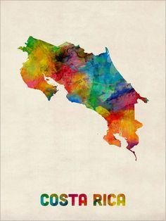 Costa Rica Watercolor Map Art Print - Etsy