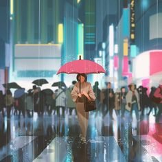 Neon rain by Atey GhailanHey! a new episode is out where i share how to add color to a black and white drawing hope you enjoy it and have a wonderful weekend! Concept Art World, Environment Concept Art, Beautiful Artwork, Cool Artwork, Drawing Rain, Monaco, Rain Illustration, Chill, Black And White Drawing