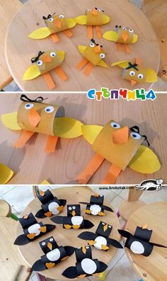 Animals from empty toilet paper rolls