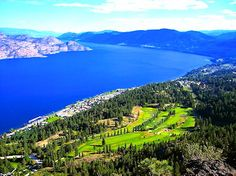 Peachland & Okanagan Lake Aerial View.  canada