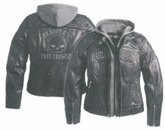 Harley-Davidson® Jacket, Women's, Leather, Skull, Reflective-3-in-1