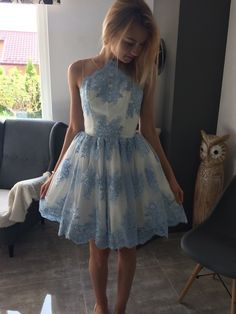 Cute Blue Lace Homecoming Dress 2017 A-line Short