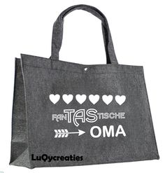 fanTAStische oma. Tas vilt. Boodschappentas. Silhouette Curio, Silhouette Cameo Projects, Shopping Bag Design, Brother Scan And Cut, Baby Kind, Teacher Gifts, Gifts For Him, Diy Gifts, Machine Embroidery