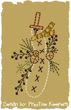 Prim Winter Wreath Snowman Machine Embroidery by PrimitiveKeepers, $3.00--Introductory Priced 25% off through January 10th