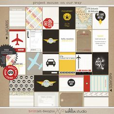 Disney Travel Project Life Cards   Airplane, Car Road Trips   Project Mouse: On Our Way by Sahlin Studio