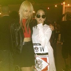 """Openingceremony: """"Look who turned up! Total babes @chaelin_cl of #2NE1 and @soojmooj! #soojoopark #OCBTW"""""""