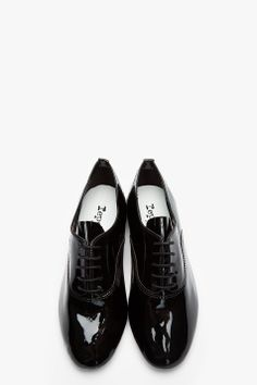 REPETTO Black Patent Leather Zizi Flat Oxfords