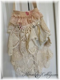 The Victorian Gypsy boho slouchy handbag purse tote with all vintage lace and crochet. $65.00, via Etsy.