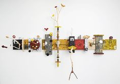 "Kari Södö, ""Life's What You Make It"", mixed media on wood, 2013 Wine Rack, Mixed Media, Sculptures, Wood, How To Make, Inspiration, Home Decor, Art, Biblical Inspiration"