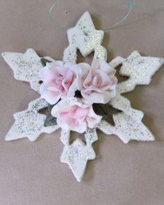 Handmade Snowflake Ornament with Cold Porcelain Flowers