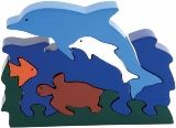 Dolphins and Turtle Wooden Puzzle