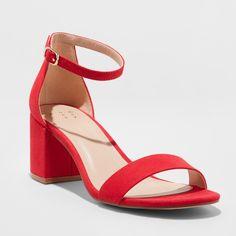Women's Michaela Mid Block Heel Pump Sandals - A New Day Red 6 Captain Marvel