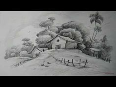 Charcoal pencil drawing landscape sketch draw charcoal scenery how to draw easy and simple landscape Easy Pencil Drawings, Beautiful Pencil Drawings, Pencil Drawings Of Nature, Pencil Drawings For Beginners, Easy Drawings Sketches, Pencil Drawing Tutorials, Art Drawings, Drawing Art, Simple Drawings Of Nature