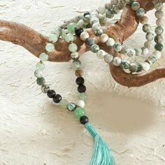 Tree Agate Mala, 108 beads at DharmaCrafts