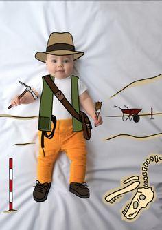 Laura paleontóloga fotografía infantil bebé. Fotografía de bebés. Fotografía Infantil. De Mayor Quiero Ser. Ilustración. Fotos divertdas niños.