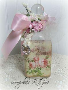 Oh La La Vanity Altered Bottle-glass bottle, decorated bottle, gift, handmade gift, pink ribbon, silk flowers, handmade flowers, cottage decor, shabby decor