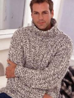 Mans Rib Sweater - This is a super chunky ribbed sweater Mens Knit Sweater Pattern, Mens Knitted Cardigan, Ribbed Sweater, Men Sweater, Sweater Patterns, Chunky Sweaters, Knit Sweaters, Laine Chunky, Big Wool