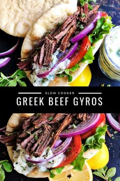 These Slow Cooker Greek Beef Gyros are easy and full of flavor - delicious beef, creamy tatziki sauce, crisp veggies, and soft pita bread Slow Cooker Beef, Slow Cooker Recipes, Cooking Recipes, Beef Gyro, Lamb Gyros, Greek Dinners, Greek Gyros, Gyro Recipe, Healthy Beef Recipes