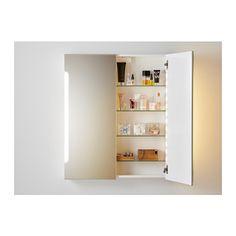 STORJORM Mirror cabinet w/2 doors & light, white white 31 1/2x5 1/2x37 3/4