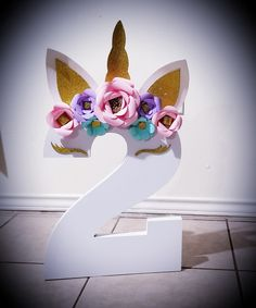 8 inch wood number unicorn theme