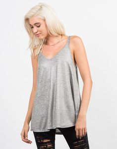 Cross Back Flare Cami - Grey Tank Top - Flowy Cami Top – 2020AVE