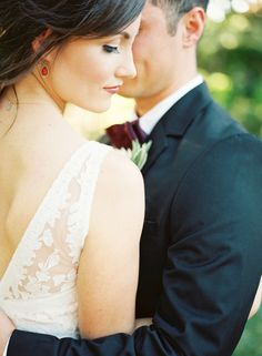 ruby teardrop earrings // a touch of marsala // maroon burgundy bow tie // bride & groom inspiration