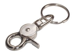 """Item # 701328, Trigger Snap with Ring. Easily attaches to belt loop or purse. Allows keys to be easily accessible. Includes 1-1/4"""" spring steel split ring. Lower end swivels to allow keys to lay flat. NOT FOR LIFTING OR HOISTING."""