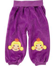 Ej Sikke Lej adorable purple velour pants with princess patches. ej-sikke-lej.en.emilea.be