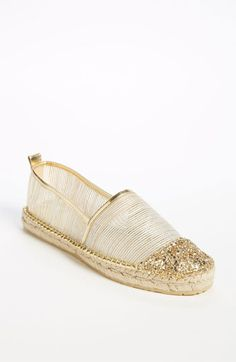 The @JimmyChooLtd 'Gaya' espadrille is given a modern touch with gold glitter $350, get it here: http://rstyle.me/~iVT0