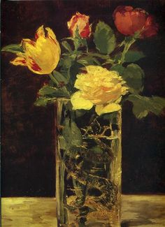 Rose and tulip, 1882 by Edouard Manet. Realism. still life. Private collection, Zurich, Switzerland