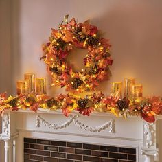 Pumpkin Fall Wreath & Garland – Covered in vibrant fall colors and adorned with pumpkins and leaves, this pre-lit fall décor can be hung over your mantel or around the front door. It's battery-operated so there's no dangling wires to mess with.