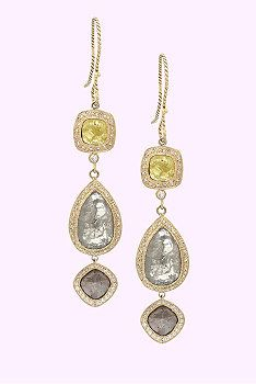 Just Jules: 14Kt double rose cut diamond earrings with pave diamonds