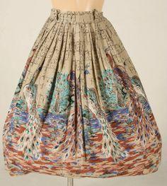 1950s Peacock Novelty Print Full Skirt SzM  by lorijade on Etsy, $95.00