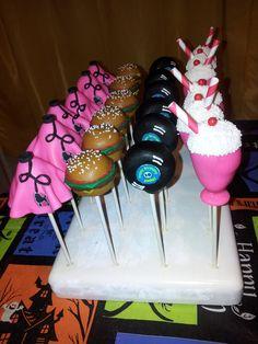 50's Themed Cake Pops - Poodle Skirts, Records, Milkshakes, Hamburgers #cakepops…